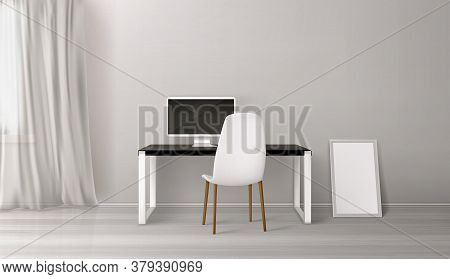 Room Interior, Workplace With Desk, Seat And Computer On Table. Empty Office Or Home Inner Design In