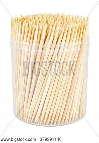 Wooden Toothpicks Close-up In Transparent Plastic Cylindric Box Without Cap Isolated On White Backgr