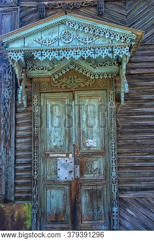 The Door Of The Old House Were Planted In The Ground