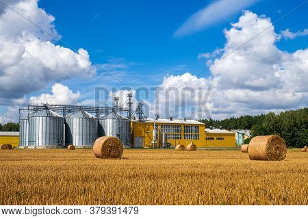 Agribusiness Concept. Agro Manufacturing Plant For Processing Drying Cleaning And Storage Of Agricul