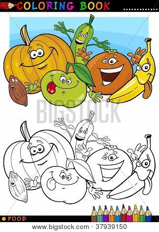 Fruits And Vegetables For Coloring