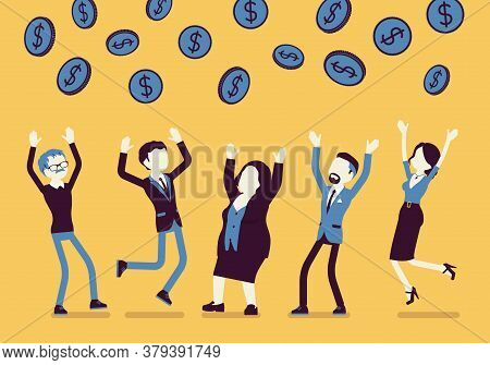 People Catching Dollar Coins Falling From Sky. Helicopter Money, Easy Dropping Payments To Individua