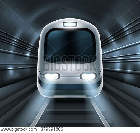 Subway Train In Metro Tunnel Front View, Locomotive On Rails With Glowing Headlights Illumination. M