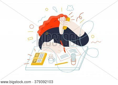 Business Topics - Client Calls. Flat Style Modern Outlined Vector Concept Illustration. A Red-haired