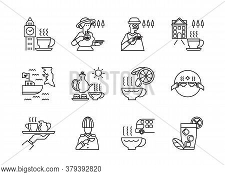 English Tea Icon Set With Madame Drink Tea,officer,double Fllors Bus,boat Shipping,service And Clock