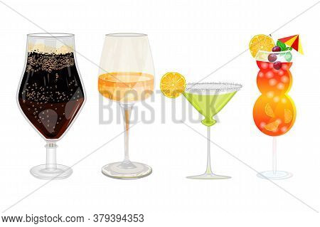 Alcohol Drinks And Cocktails Set Isolated On White Background. Popular Alcoholic Cocktails, Dark Bee
