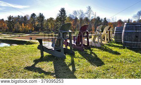 Adirondack Chair In Cranberry Marsh, Bala, Ontario, Canada