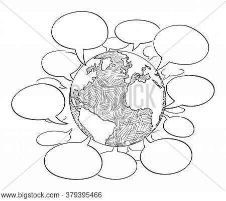 Vector Cartoon Drawing Conceptual Illustration Of Planet Earth Globe With Empty Speech, Talk Or Text