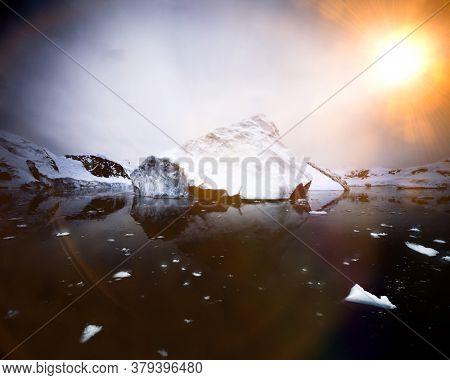 Iceberg melting due to global warming