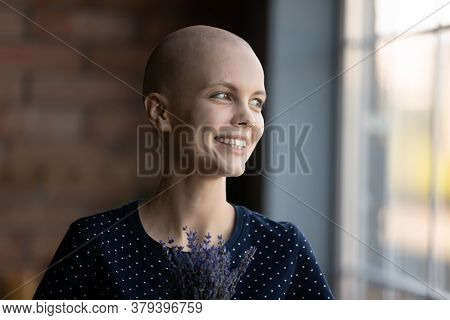 Happy Young Sick Woman Look In Distance Feeling Optimistic
