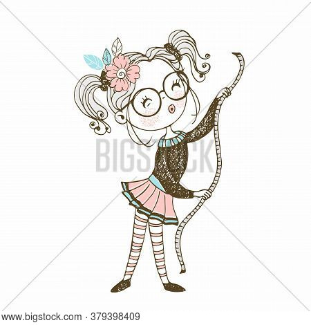 Cute Girl Seamstress Sews On A Sewing Machine Dress. Doodle Style. Vector.