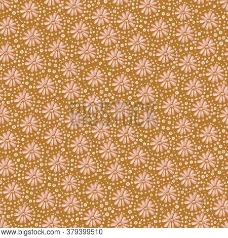 Flowers And Dots Seamless Vector Pattern In Ochre And Pinik. Decorative Girly Surface Print Design F