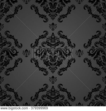 Classic Seamless Vector Pattern. Damask Orient Ornament. Classic Vintage Black Background. Orient Or