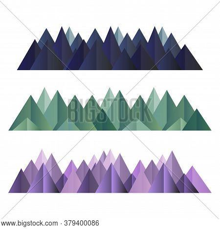 Low Poly Mountains Ranges In Different Colors Set. Vector Polygonal Shapes Isolated Illustration