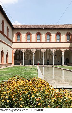 Milan, Italy - July 202015: Hall Of The Ducal Court In Sforza Castle In Milan, Italy