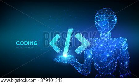 Programming Code Icon. Abstract 3d Robot Holding Programming Code Symbol In Hand. Coding Or Hacker B