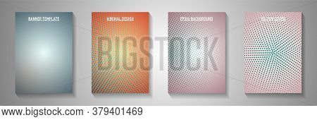 Minimalist Circle Screen Tone Gradation Title Page Templates Vector Kit. Corporate Booklet Faded Scr