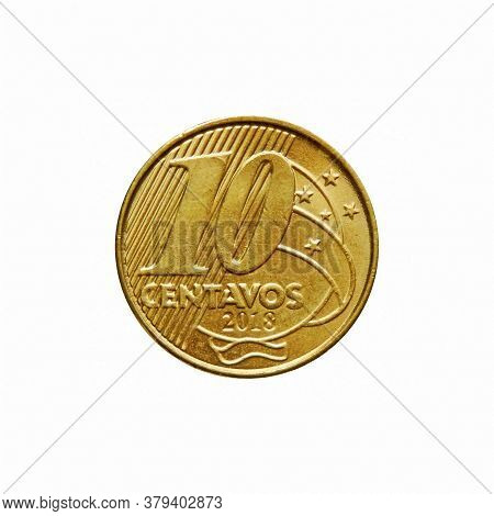 10 Brazilian Real Cents Coin Isolated On White Background