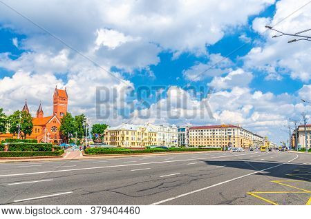Minsk, Belarus, July 26, 2020: Independence Square And Avenue With Saints Simon And Helena Roman Cat