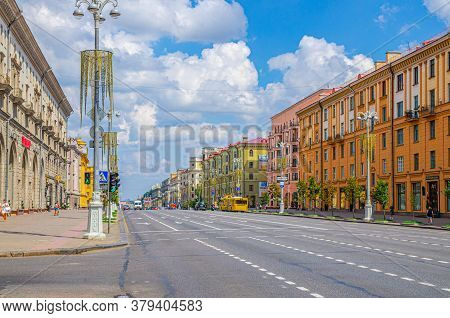 Minsk, Belarus, July 26, 2020: Independence Avenue With Socialist Classicism Stalin Empire Style Bui