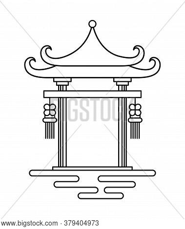 Chinese Arch Line Style Icon Design, China Culture Asia Travel Landmark Famous Asian And Oriental Th