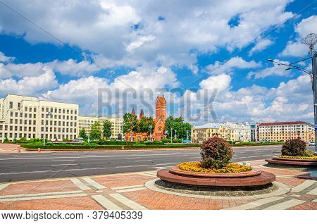 Independence Square In Minsk City Centre With Saints Simon And Helena Roman Catholic Church Or Red C