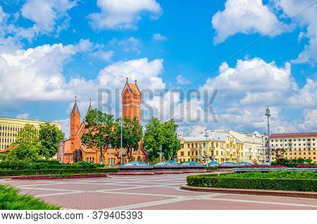 Saints Simon And Helena Roman Catholic Church Or Red Church On Independence Square In Minsk City His