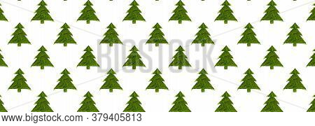 Seamless Pattern With Green Christmas Trees On A White Background. Minimal Composition Pattern Backg