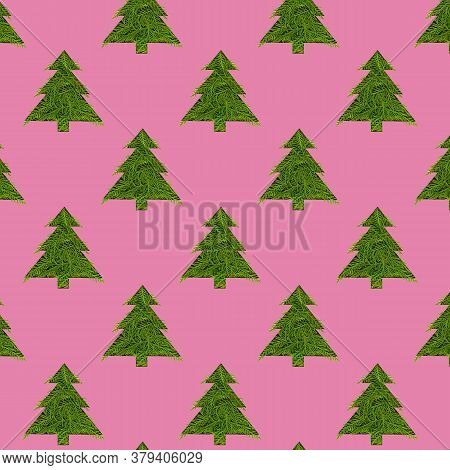 Seamless Pattern With Green Christmas Trees On A Pink Background. Minimal Composition Pattern Backgr