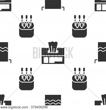 Set Towel On A Hanger, Wet Wipe Pack And Cotton Swab For Ears On Seamless Pattern. Vector