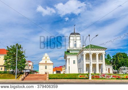 Town Hall Building On Freedom Svabody Square And Church Of St. Joseph In Upper Town Minsk Historical