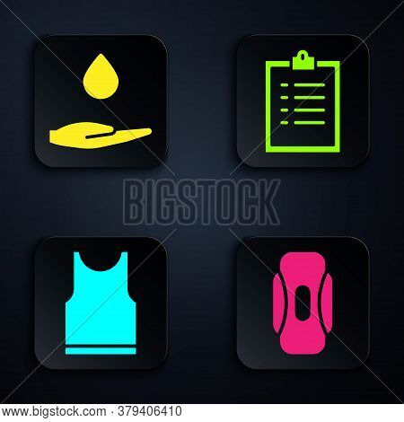 Set Sanitary Napkin, Washing Hands With Soap, Sleeveless T-shirt And Clipboard With Checklist. Black