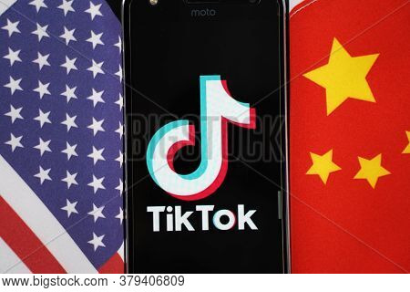 Maski, India 04, August 2020 - Tiktok App Logo On A Smartphone Screen In Between China And United St