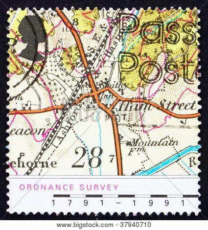Postage stamp GB 1991 Map of Village of Hamstreet,Kent