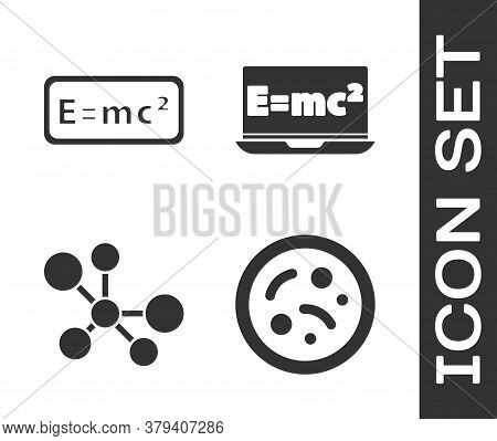 Set Bacteria, Equation Solution, Molecule And Equation Solution Icon. Vector