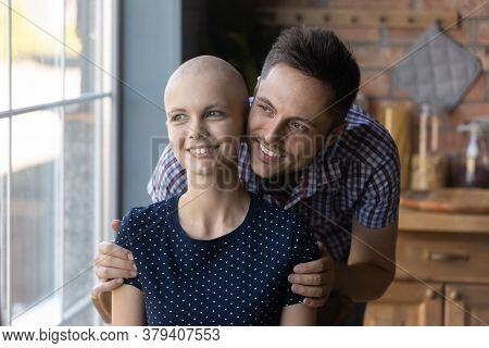 Caring Husband Hug Sick Wife Dreaming Of Recovery Together