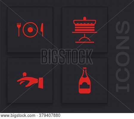 Set Champagne Bottle, Plate, Fork And Knife, Cake On Plate And Wedding Rings Hand Icon. Vector