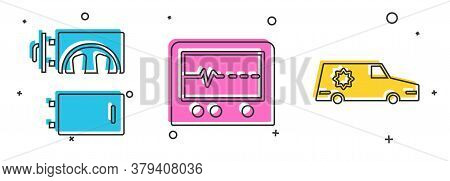 Set Crematorium, Beat Dead In Monitor And Hearse Car Icon. Vector
