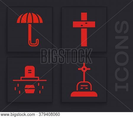 Set Grave With Cross, Umbrella, Christian Cross And Grave With Coffin Icon. Vector