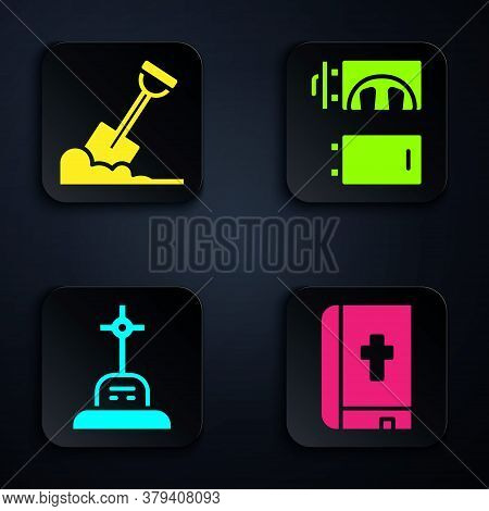 Set Holy Bible Book, Shovel In The Ground, Grave With Cross And Crematorium. Black Square Button. Ve