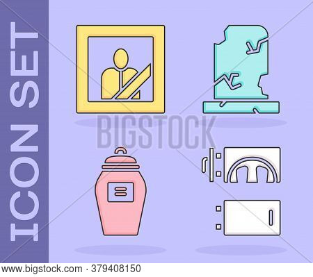 Set Crematorium, Mourning Photo Frame, Funeral Urn And Old Grave With Tombstone Icon. Vector