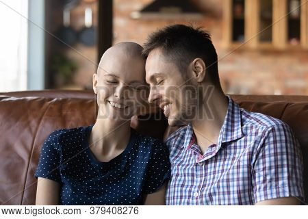 Loving Husband Support Sick Cancer Patient Wife