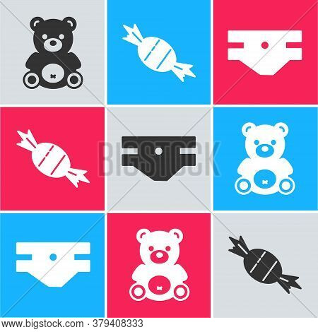 Set Teddy Bear Plush Toy, Candy And Baby Absorbent Diaper Icon. Vector