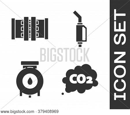 Set Co2 Emissions In Cloud, Industry Metallic Pipes And Valve, Oil And Gas Industrial Factory Buildi