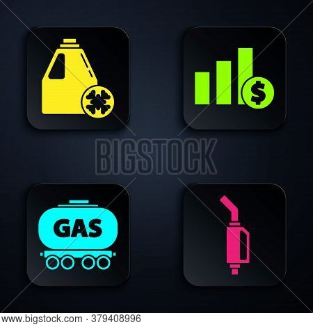 Set Gasoline Pump Nozzle, Antifreeze Canister, Gas Railway Cistern And Pie Chart Infographic And Dol
