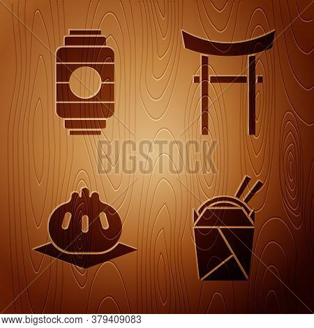 Set Asian Noodles In Paper Box And Chopsticks, Japanese Paper Lantern, Khinkali On Cutting Board And