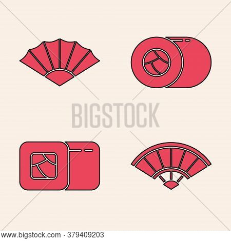Set Paper Chinese Or Japanese Folding Fan, Paper Chinese Or Japanese Folding Fan, Sushi And Sushi Ic