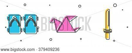 Set Geta Traditional Japanese Shoes, Origami Bird And Japanese Katana Icon. Vector