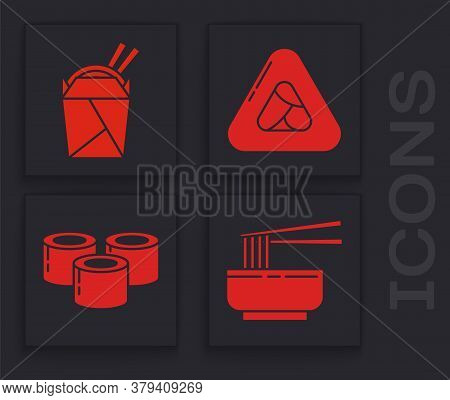 Set Asian Noodles In Bowl And Chopsticks, Asian Noodles In Paper Box And Chopsticks, Sushi And Sushi