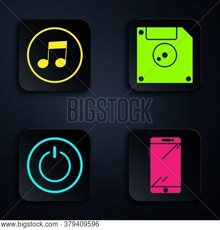 Set Smartphone, Mobile Phone, Music Note, Tone, Power Button And Floppy Disk For Computer Data Stora